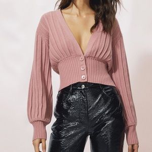 WILFRED Pink New Plunge Front Crop Cardigan